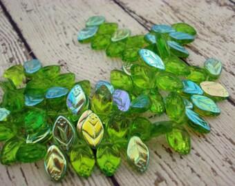 OLIVINE AB Leaf Beads, Aurora Borealis Green Czech Glass Leaves Qty 25 12mm X 7mm