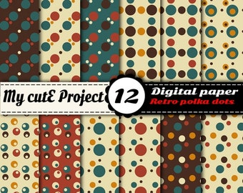 Vintage Polka dots - Instant Download - DIGITAL PAPER