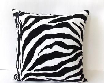 Black & White Zebra Pillow Cover - Zebra Accent Pillow