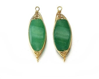 Green Aventurine Gemstone Connector . Jewelry Craft Supplies . 16K Polished Gold Plated over Brass  / 2 Pcs - DG007-PG-GA
