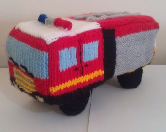 Fire Truck, knitted truck, soft toy, stuffed toy, plush toy, childrens toy