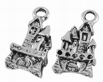 10 x Tibetan Silver Fairy Castle Charms - Fairytale Castle - Crooked House - LF-NF - TS110