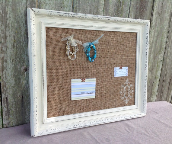 framed cork board shabby chic decor burlap covered cork board