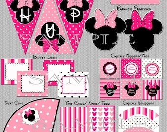 Instant Download Minnie Mouse Party Package Birthday - YOU PRINT non-editable PDF files Printable Party Pack Pink