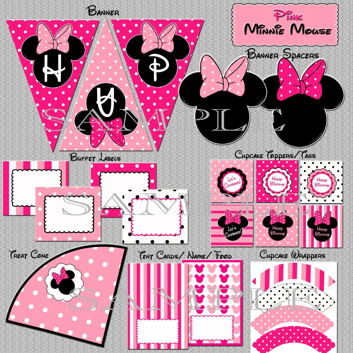 Instant Download Minnie Mouse Party Package Birthday YOU