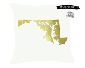 Maryland Home Pillow CHOOSE COLORS, Custom State Pillow, College Dorm, Housewarming Moving Gift, Wedding Gift, Baltimore