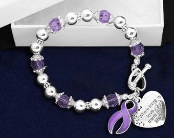 Purple Ribbon Bracelet - Where There Is Love (RE-B-01-4)