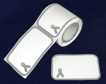 Gray Ribbon Name Badge Stickers - 100 Stickers (ST-03-7)