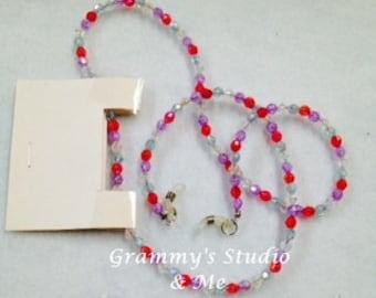 "Lavendar Multi Colored Beaded Eyeglass Lanyard,Chain,Necklace, 30"" Handmade"