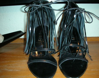 Coup d'etat black leather fringed high heel shoes Size 6B  Tie at ankle Made in Spain