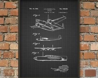 aircraft patent print 1944 aeroplane design american aircraft aeroplane poster boys room - Aviation Decor