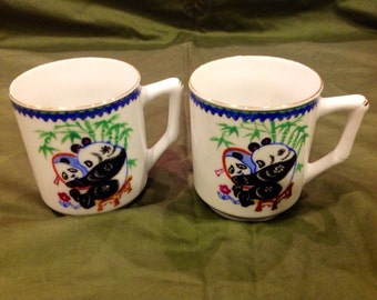 Pair Of Panda Mugs Hand Painted from Guangzhou China