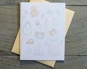 Illustrative Baby Letterpress Card