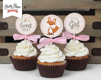 Cupcake Toppers - Woodland Baby Shower // INSTANT DOWNLOAD // Favor Tags // Fox Shower Decor // Pink Baby Girl // Digital Printable BS02