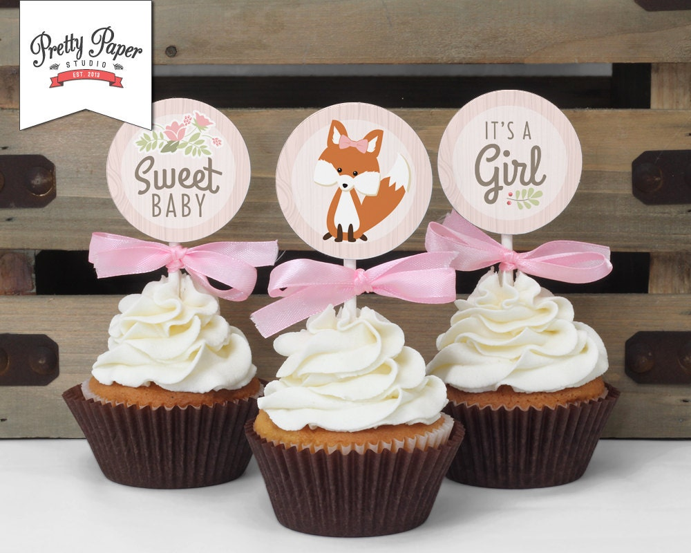Cupcake toppers woodland baby shower instant download for Baby shower cupcake decoration