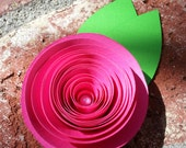 Corsage, Boutonniere, Brooch - Paper Flower - Handmade Pink Magenta Rose - Available with Pin and Clasp or Ribbon Tie for Wrist