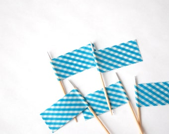 Blue Gingham Cupcake Toppers (6) for Birthday Parties or Baby Showers