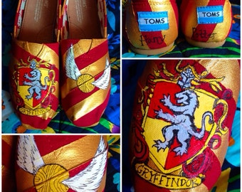 Custom painted Gryffindor Vans. PAINTING ONLY- shoes provided by customer.