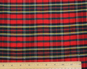 "Red/Green Dupioni/Shantung Plaids 100% Silk Fabric, 54"" Wide, By The Yard (SD-656)"