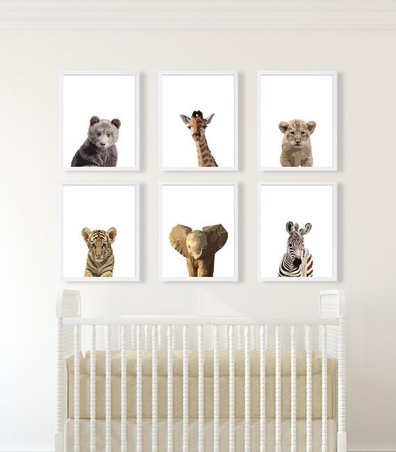 Zoo Animals Nursery Decor Safari Nursery Art Baby By