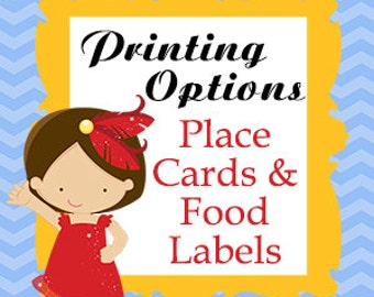 Set of 12 Printed Placecards Tent Food Labels Matching