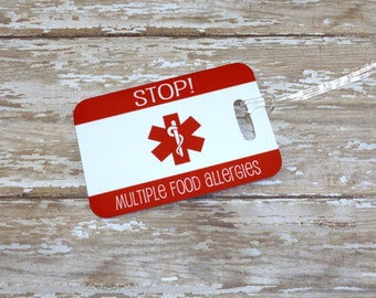 Peanut Allergy Tag bag tag-Any allergy or condition-Custom {Double Sided} Fiberglass *Not laminated-Medical ID tag-Kids bag tag
