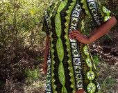 1960's-70's Forest Green w/Olive Green Tribal Print Hawaiian Mod Dress By Royal Hawaiian