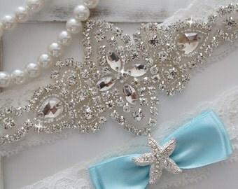 Wedding Garter Set, Bridal Garter Set, Vintage Wedding, Crystal Garter Set, Something Blue