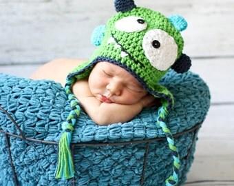 Monster hat, crocheted earflap, baby monster photo prop, crochet baby monster, crochet baby hat, crochet baby gift
