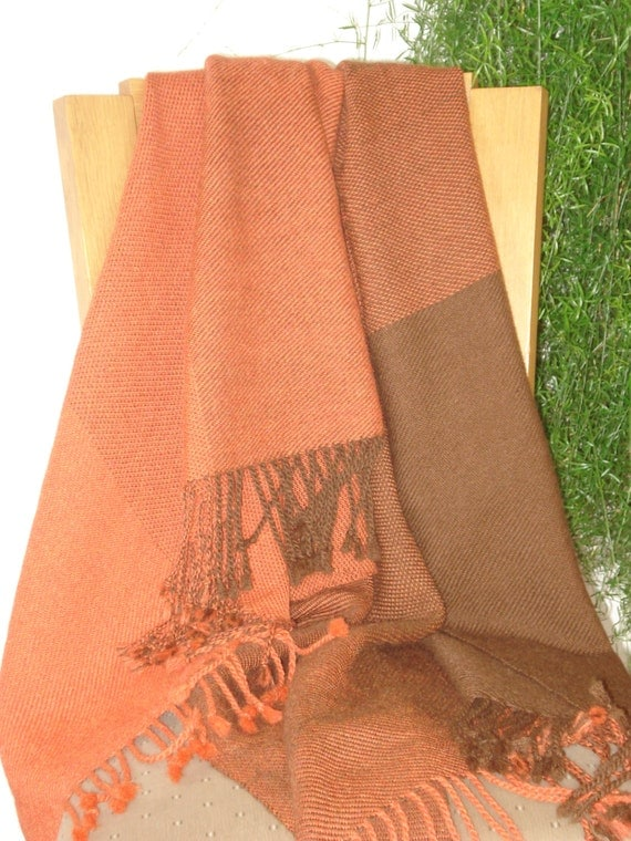 Throw or Blanket, 100% Alpaca Wool, Handwoven, colours brown and rust
