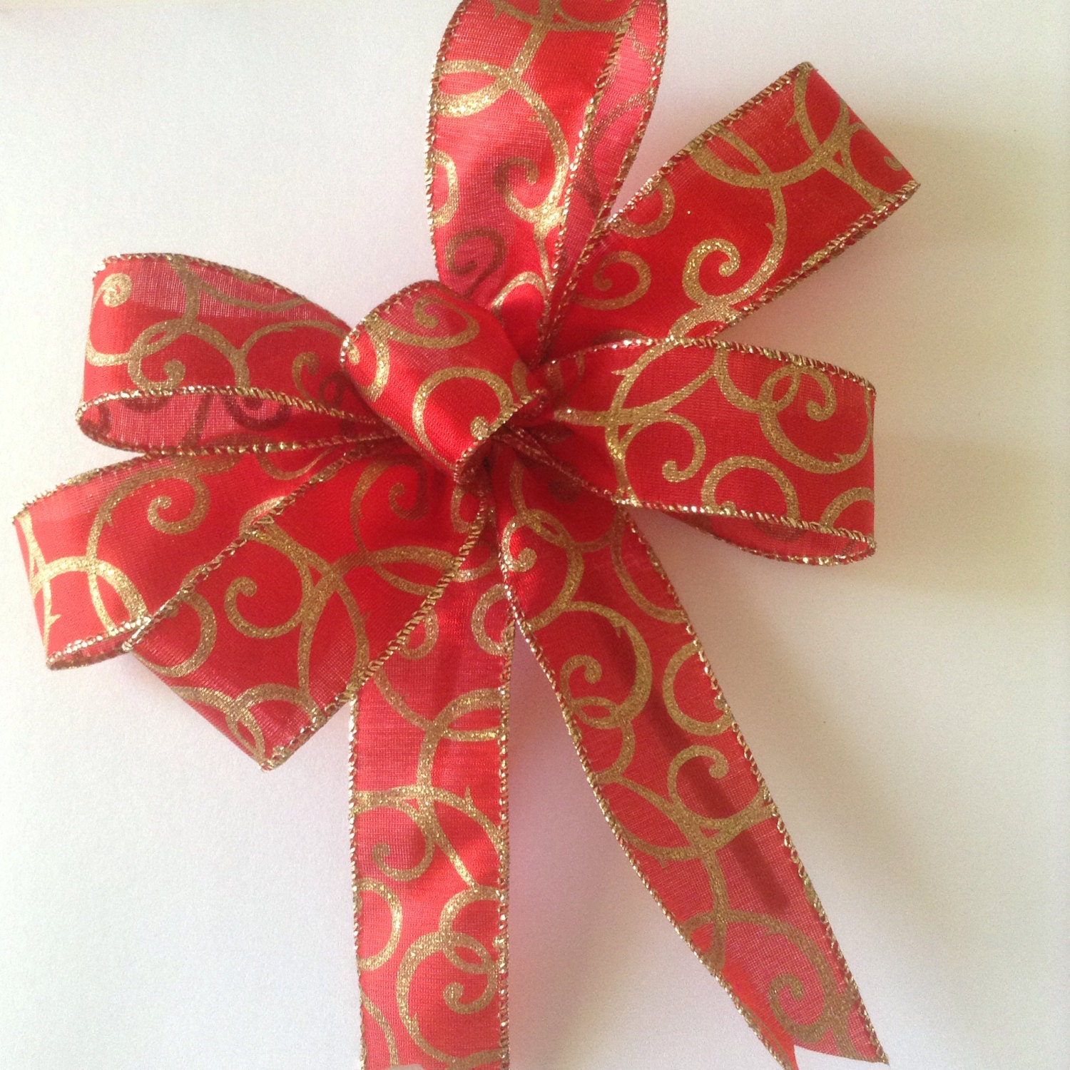 christmas bows red and gold bows decorative bows by craftsbybeba. Black Bedroom Furniture Sets. Home Design Ideas