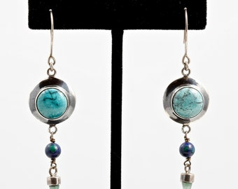 Turquoise 098 - Earrings - Sterling Silver, Turquoise, Azurite & Malachite, Aventurine