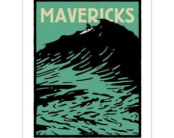 MAVERICKS California. Limited edition signed, numbered silkscreen poster