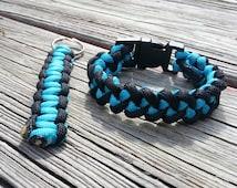 Blue and Teal Paracord Bracelet; Viper Paracord Bracelet; Survival Gear Bracelet; Keychain