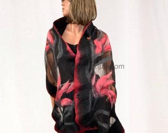 Ruby Shawl. Nuno felted. Nuno felting. Silk shawl. Silk Scarves. Silk scarf. Unique shawl. Unique clothes