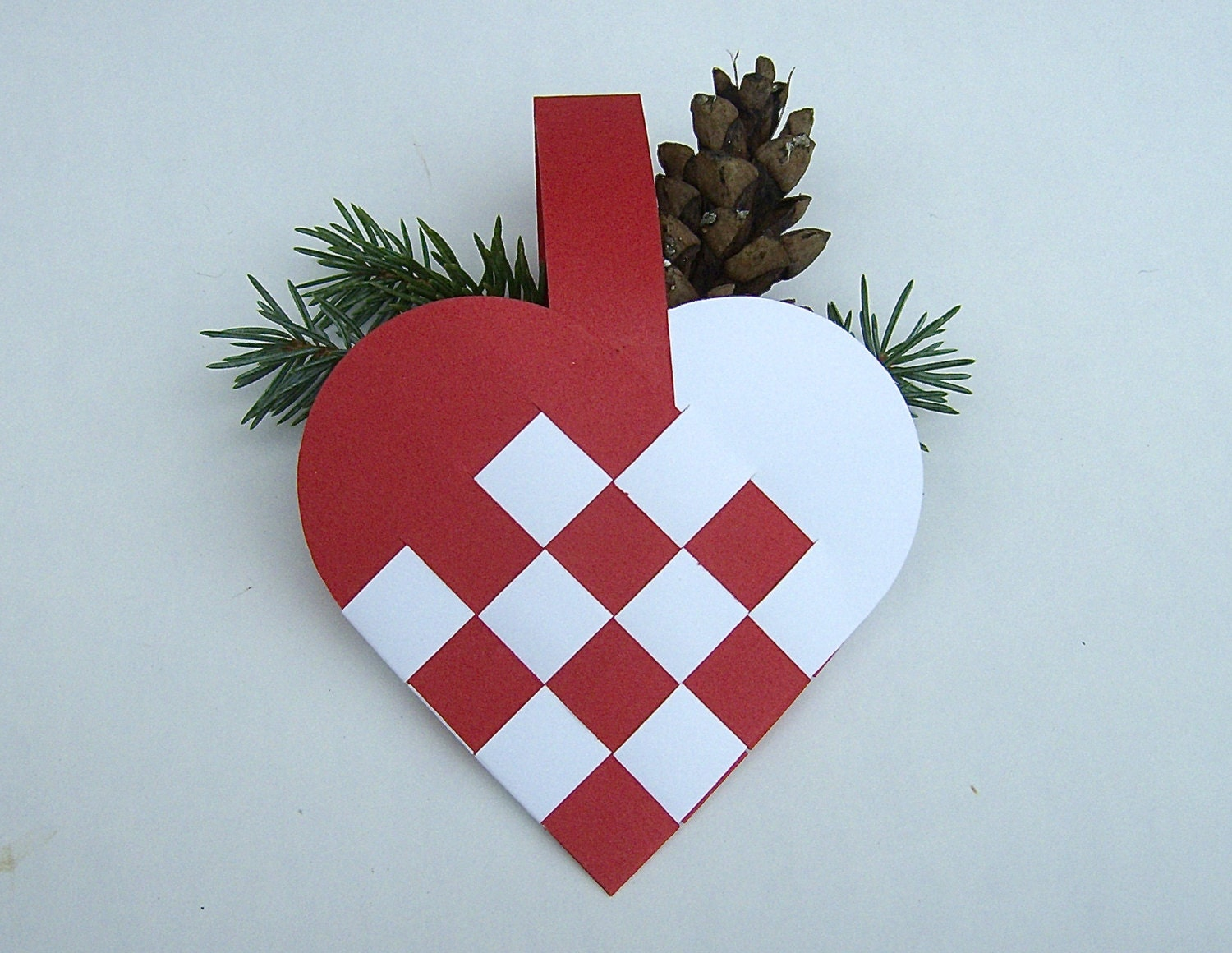 How To Make A Woven Heart Basket : Danish woven heart basket decoration set of christmas