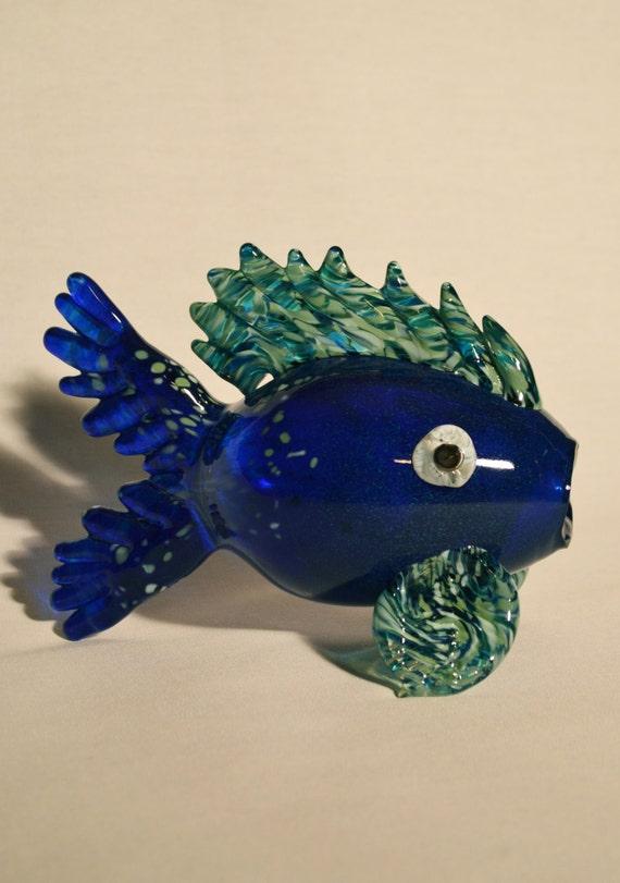 Big silver blue blown glass fish for Blown glass fish