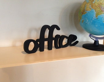 Office Decor - Office Sign in  Black - Office Wall Sign - Wood sign office decor word OFFICE - Business Sign