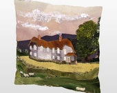 "16"" X 16"" Sheep Ranch pillow, with black or ivory back"