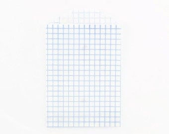 GRID PAPER BAGS (Set of 12) - Blue Graph Grid Pattern (11.3cm x 7.2cm)
