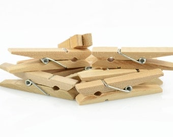 NATURAL WOOD PEGS (Set of 10) - Medium Size Natural Wood Pegs (4.8cm x 1.3cm)