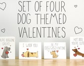 Set of Four Dog Themed Valentines. Illustrations and Lettering. 100% Percent Recycled Paper