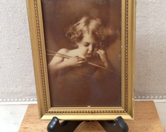 Vintage Framed Little Girl Cupid Photo Sepia Tones