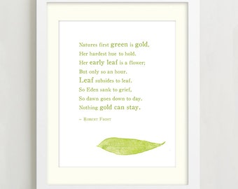 Robert Frost Nothing Gold Can Stay Typographic Print, Inspirational Quote Art, Poetry Print, Wall decor, Nature quote