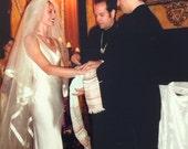 Veil, Glimmer Veil, Bridal Veil, Wedding Veil, Glimmer tulle, Silk Edged  Veil,  Blusher Veil, Glimmer Tulle, Silk Ribbon Trim - KARINA Veil