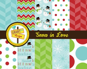 Snowman Digital Paper - Christmas Digital Papers- Scrapbooking, Backgrounds for Invitations, & Card Design