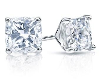14k Gold 4-Prong Martini Cushion Cut Diamond Stud Earrings 0.75 ct. tw. (H-I, I1)
