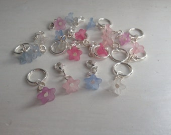 Delicate frosted flower knitting stitch markers