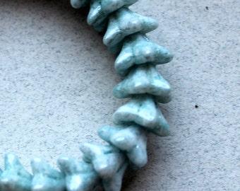Mottled Light Blue 5 Petal Czech Glass Beads