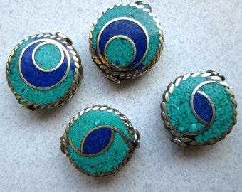 LAST ONES!! 2 Nepalese Lapis and Turquoise Beads- Circle within Circle ONLY